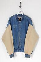 Vintage Hombres 90s Vaqueros Universitaria Chaqueta Azul Medio (XL)