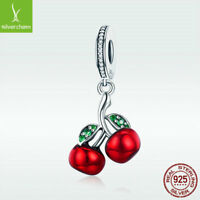 Real S925 Sterling Silver Charm Bead Red Cherry Pendant CZ Jewelry For Bracelet