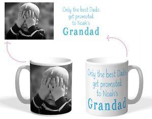 Personalised Printed Mug, Dads promoted to Grandad, Christmas photo gift