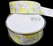 """2 Yards White Orchids Flowers European Wired Ribbon 1 1/2"""" Made in Germany"""