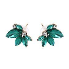Designer Inspired Romantic Royal Green Flower Crystal Stud Earrings