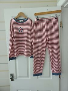 THE LITTLE WHITE COMPANY GREAT BOYS RED & WHITE STRIPED PYJAMAS AGE 9-10 YRS VGC