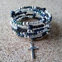 Christian Artisan Blue Silver Black Beaded Memory Wire Bracelet Silver Cross