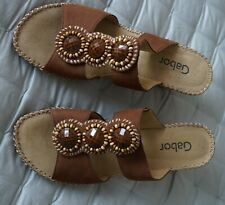 GABOR TAN SUEDE WEDGE SANDALS SLIP ON MULES SIZE 4.5