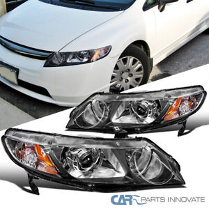 For 06-11 Honda Civic 4Dr Sedan Matte Black Retro Style Projector Headlights L+R