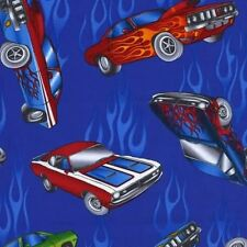 Timeless Treasures Muscle Cars Blue BTHY 1/2 By The Half Yard Fabric Cotton
