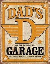 Dad's Garage Novelty Tin Sign Vintage Fix It Shop Wall Poster Decor