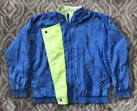 Vintage NIKE ELITE Neon Blue Green Jacket Mens Medium Windbreaker Full Zip Nylon