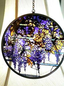1910 Tiffany Wisteria Design Round Stained Glass Sun-catcher 1997 Canada
