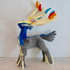 """Pokemon plush Xerneus toy stuffed animal 19"""" original blue gray yellow no tag"""