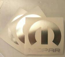"""3 X Mopar Vinyl Decal Sticker Dodge Jeep, 3""""X3''. CHROME MIRROR DIE CUT"""