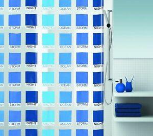 Cubist Blu Tenda Della Doccia 180 x 200 Cm. Vinile Pregiato Prodotto di Marca