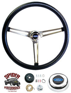 """1968 Ford pickup steering wheel BLUE OVAL 15"""" MUSCLE CAR STAINLESS"""