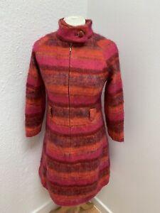 VINTAGE 60's PINK & RED WOOL WINTER MOD MINI TUNIC DRESS UK 8/10 SMALL