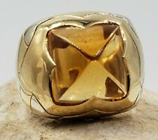 BVHGARI Citrine Pyramid in 18Kt Yellow Gold Ring size 7.75 US  Original Box