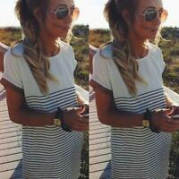 Summer Women Casual Short Sleeve Stripe Mini Dress Ladies Loose T-shirt Tee Tops