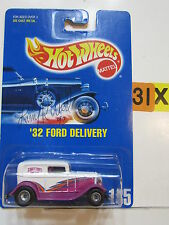HOT WHEELS 1991 BLUE CARD #135 '32 FORD DELIVERY AUTOGRAPHED BY LARRY WOOD