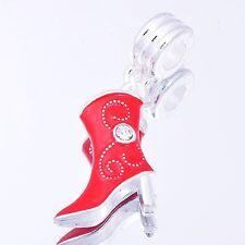 1pcs RED Enamel CZ Women Boots Dangle Charm Bead Loose European DIY All