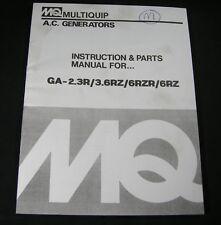 Heavy equipment manuals books for multiquip generator ebay multiquip mq ac generators ga 23r 36rz 6rzr 6rz parts instruction op manual asfbconference2016 Choice Image