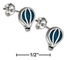 Genuine .925 Sterling Silver Faux Turquoise Hot Air Balloon Earring & Steel Post