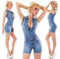 Damen Jeans HotPants Overall Jumpsuit Denim Knopfleiste Stretch blau S M L