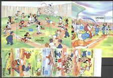 Walt Disney, Baseball, Ameripex - Grenada - 1471-1478, Bl.158-159 ** MNH 1986