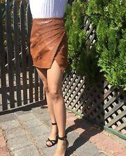 Aje Leather Wrap Inca Mini Skirt - Tan - Size 8