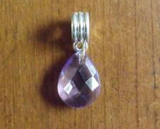 pendentif argenté goutte violette 17x13 mm
