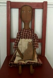 Primitive Doll, Cat, Folk Art, Rag Stuffed, Prairie Doll, Farmhouse Decor