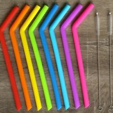 Pack Of 8 Reusable Silicone Straws Two Cleaners Rainbow Colored