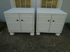 Pair Nightstands Luggage old world Coastal Nautical 2 Tropical Side Tables End