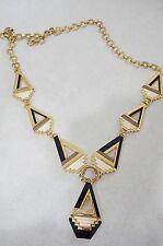 Tory Burch 'Floyd' Geometric Necklace $295 12125715 lobster 16k gold GUC