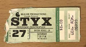 1979 STYX PIECES OF EIGHT TOUR BATON ROUGE CONCERT TICKET STUB RENEGADE LADY