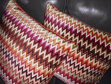 Missoni Home Throw Pillows NADOR cut velvet fabric zigzag stripe design new PAIR