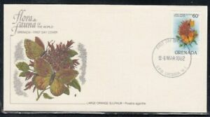 GRENADA Large Orange Sulphur Butterfly FIRST DAY COVER