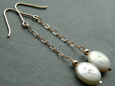Ivory Coloured Freshwater Coin Pearls & 14K Rolled Rose Gold Chain Drop Earrings