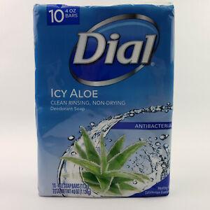 Dial Icy Aloe Antibacterial Deodorant Soap 10 4oz Bars Clean Rinsing Non-Drying