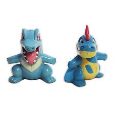 """POKEMON Totodile Croconaw 1.5"""" Mini PVC Figure Toy Loose 2pc Set Tomy Nintendo"""