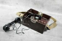 altes Telefon Feldtelefon Bakelit old vintage mit Kurbel Hörer Militär  CCCP