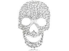 New Silver Tone Clear Crystal Colored Rhinestones Big Skull Head Face Brooch Pin