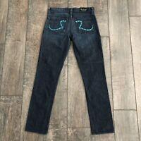 Rock & Republic Women's Jeans Straight Leg Blue Embroidered Pockets Dark Wash 24