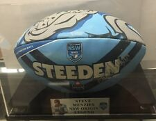 NSW ORIGIN BALL SIGNED BY STEVE MENZIES  IN DISPLAY CASE
