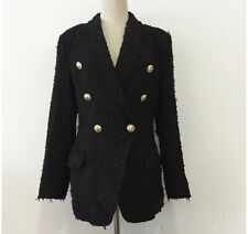 Tweed Balmain Style Jacket With Lion Buttons, Black, Size M (8-10)