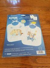 Janlynn Printed Cross Stitch Kit Sleepy Bunnies Bibs 9 1/2 X 11 1997