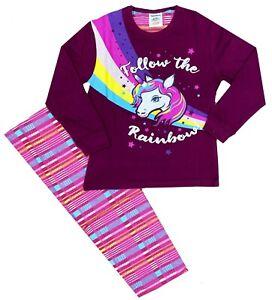 Girls Rainbow Unicorn Pyjamas Check Nightwear Motif Pyjamas 6-10 Years