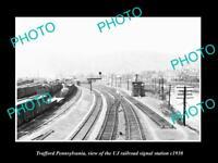 OLD 8x6 HISTORIC PHOTO OF TRAFFORD PENNSYLVANIA THE UJ RAILROAD TOWER c1930