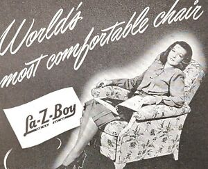 1948 La-Z-Boy Chair Recliner Couch Sofa Upholstery Designs Vintage Print Ad