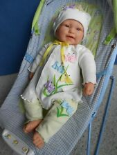 """Berenguer Baby Doll, Lots To Cuddle 20"""" Big smile! Cute Usa made baby outfit"""