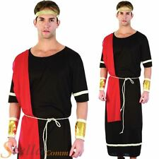 Mens Black Caesar Roman Greek Emperor Toga Fancy Dress Costume Adult Outfit