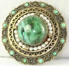 VINTAGE ISRAEL STERLING SILVER EILAT TURQUOISE PEARL PIN PENDANT